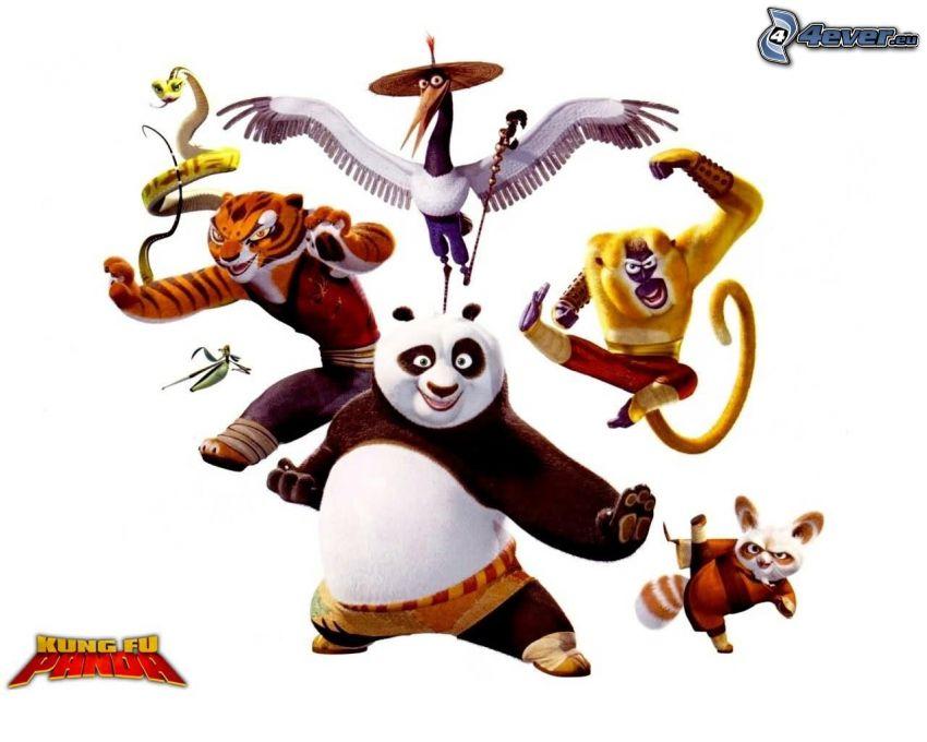 Kung Fu Panda, Panda Po, apa, Mr. Shifu, Tigerhona, Huggorm, Trana