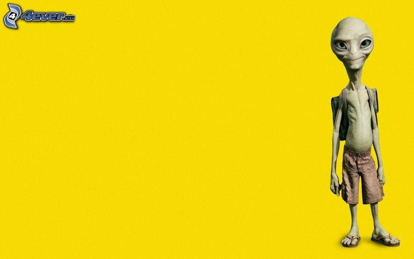 Paul, utomjording, gul bakgrund