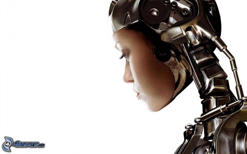 robot, kvinnoansikte