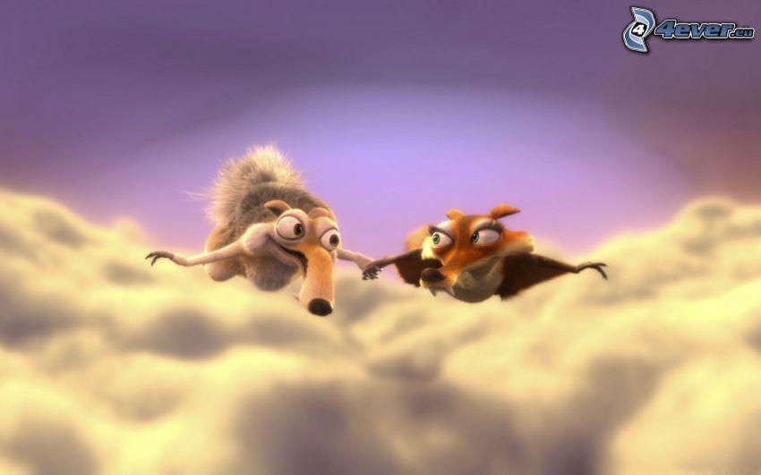 Scrat & Scratte, Ice Age 3, ovanför molnen