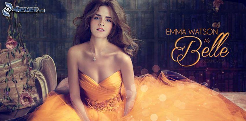 Skönheten och odjuret, Emma Watson, gul klänning