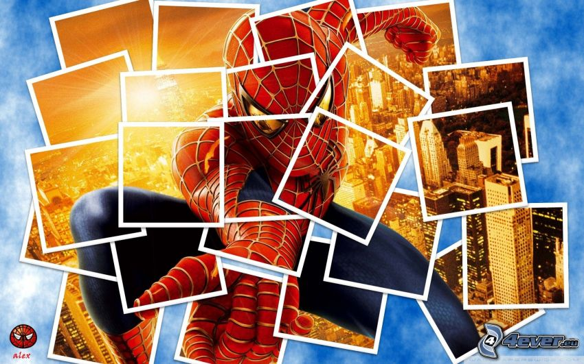 Spiderman, collage, foton