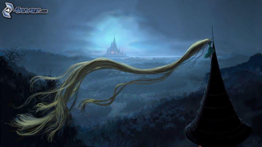 Tangled, långt hår, landskap, slott