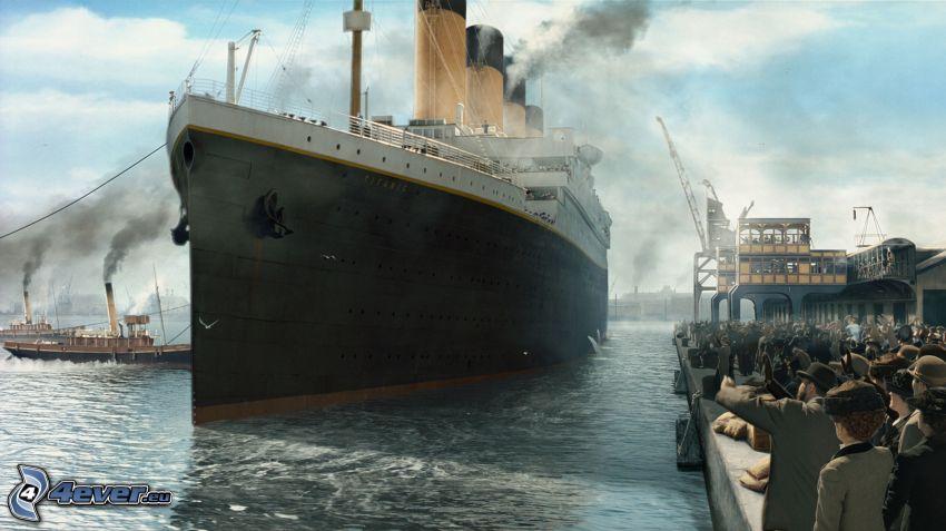 Titanic, hamn, människor