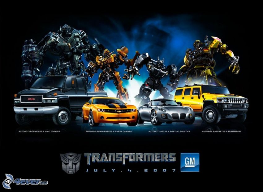 Transformers, robotar, bilar, GMC, Chevrolet Camaro, Pontiac Solstice, Hummer H2