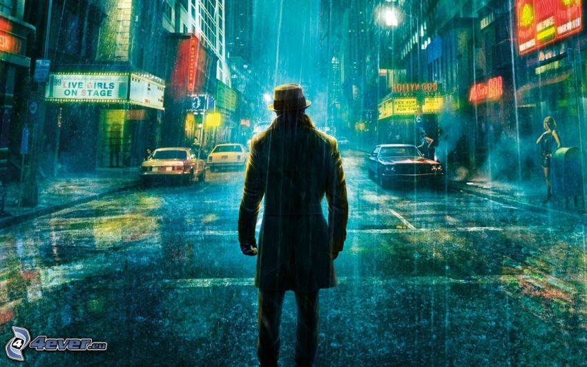 Watchmen, gata, regn