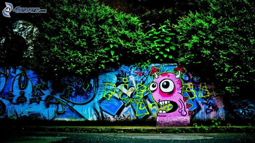 graffiti, grönska