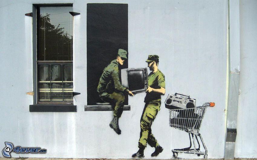 graffiti, TV, fönster, tjuvar