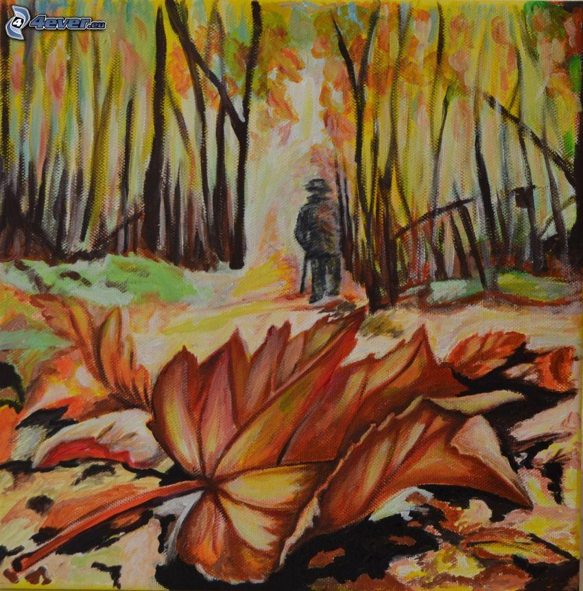 höstskog, målning