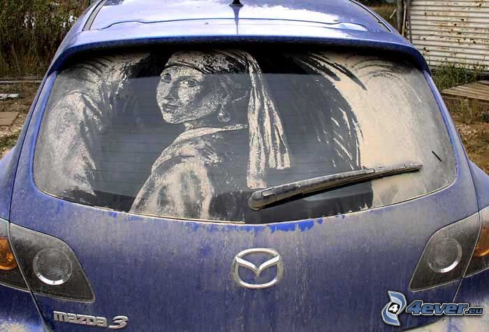 konst, damm, bild, bil, Mazda 3