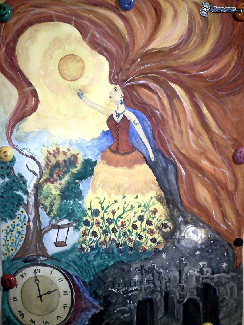 kvinna med långt hår, analoga armbandsur, sol, träd, kyrkogård, målning
