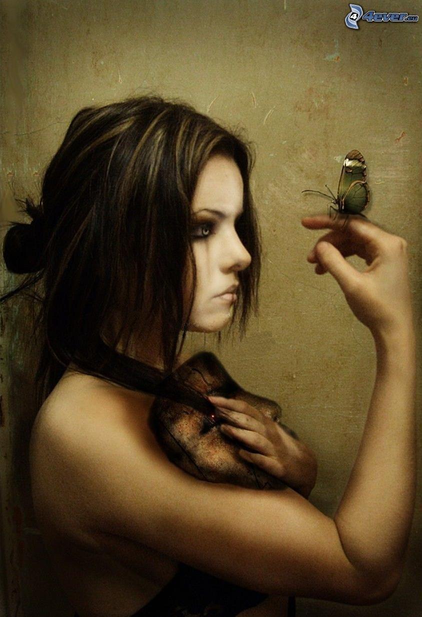 målad kvinna, fjäril