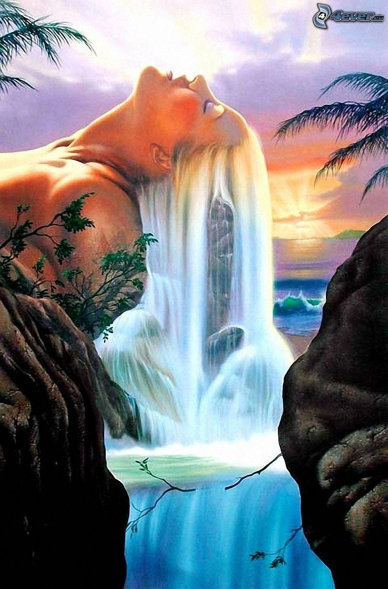 målad kvinna, vattenfall, landskap, tecknat