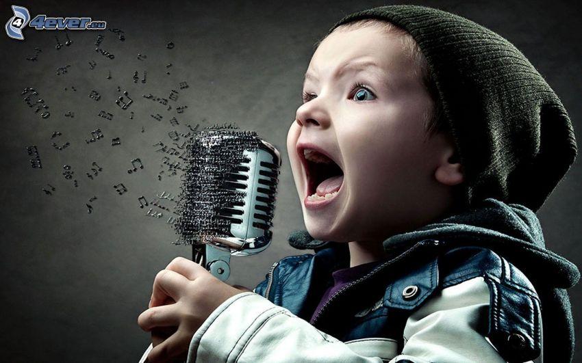 barn, pojke, sång, mikrofon, noter