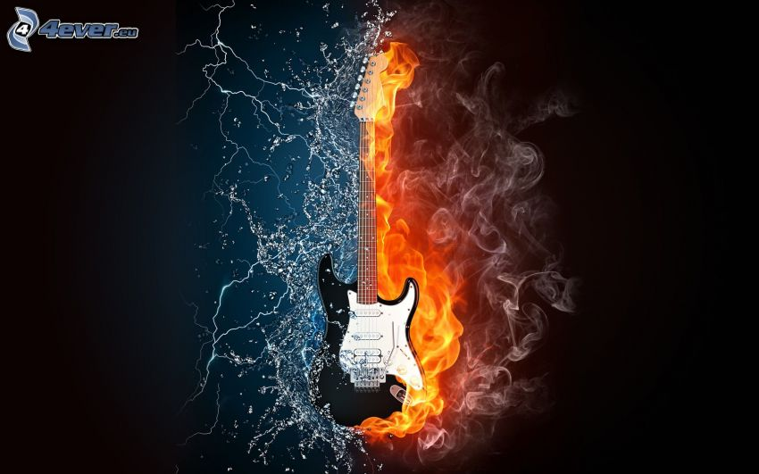 elgitarr, eld och vatten