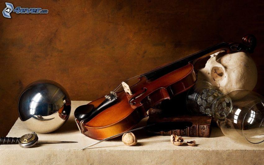 fiol, dödskalle, glas, metallisk kula, bok
