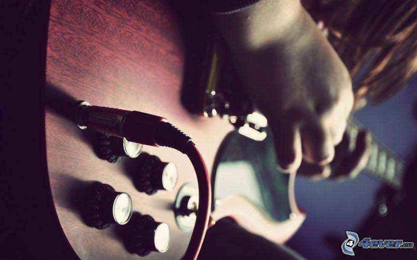 gitarr, flicka med gitarr