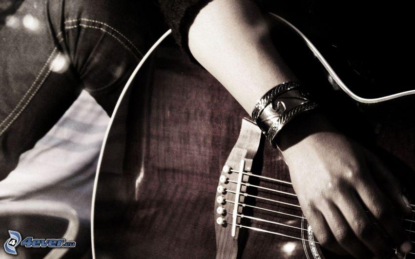 gitarr, hand