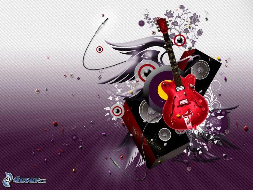 gitarr, högtalare