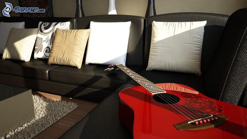 gitarr, soffa