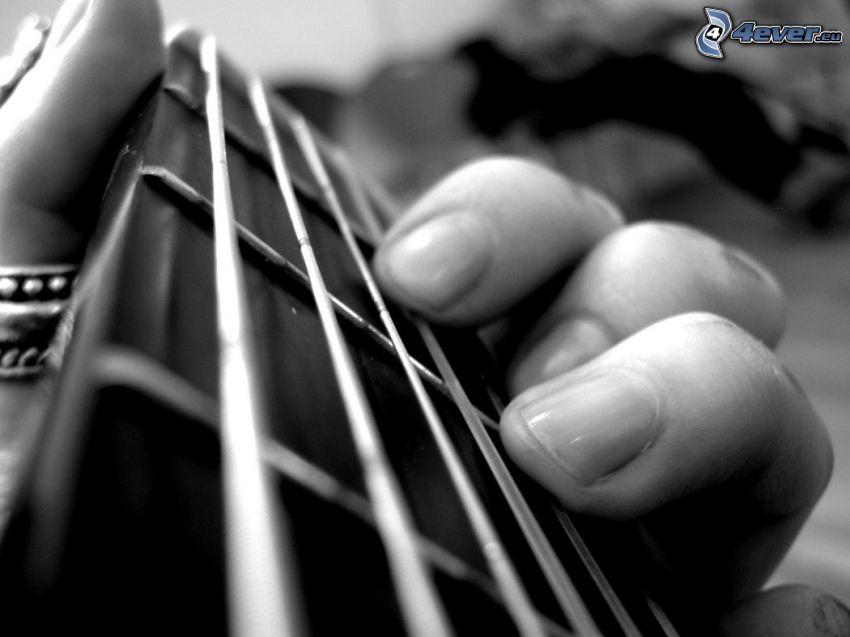 gitarr, strängar, fingrar, ackord