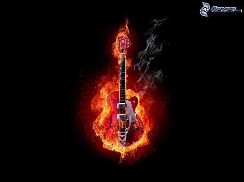 gitarr i lågor, elgitarr