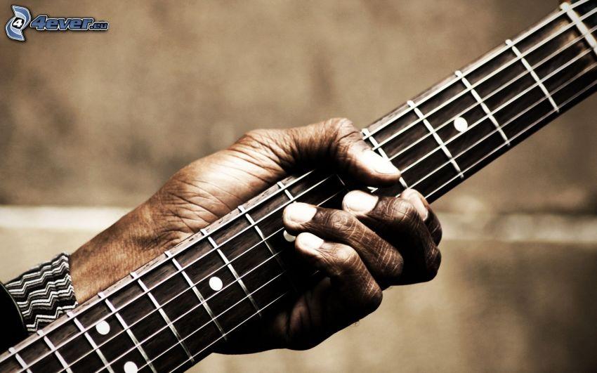 gitarrspel, mörkhyad man, hand