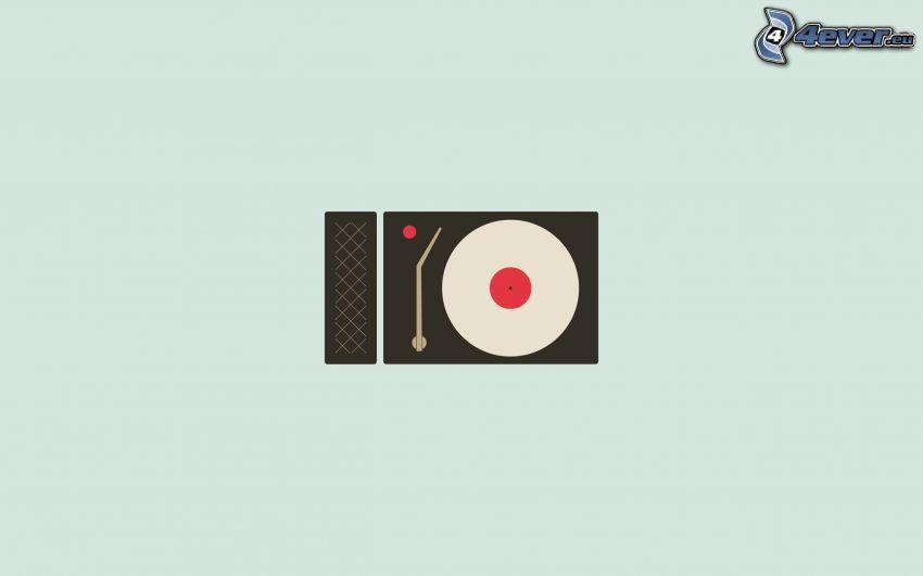 grammofon, LP-skiva, tecknat