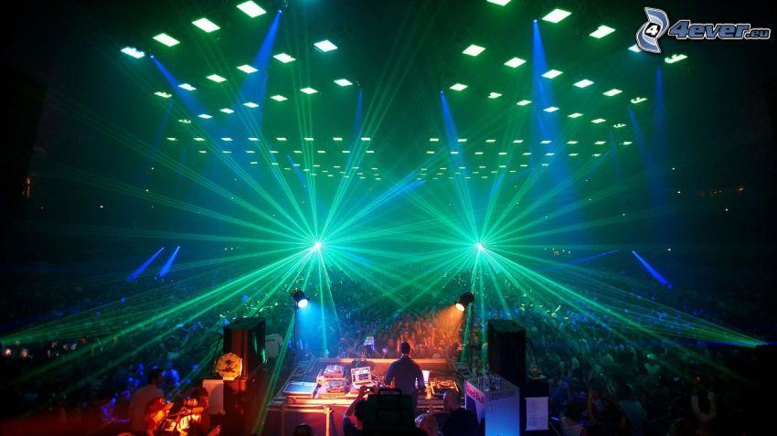 konsert, diskotek, DJ, enormt party, ljus