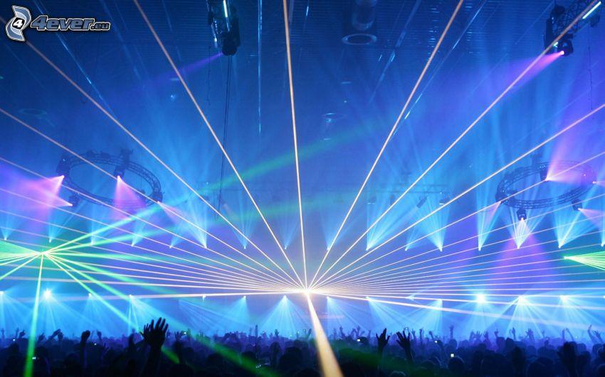 konsert, folkmassa, fans, händer, ljus