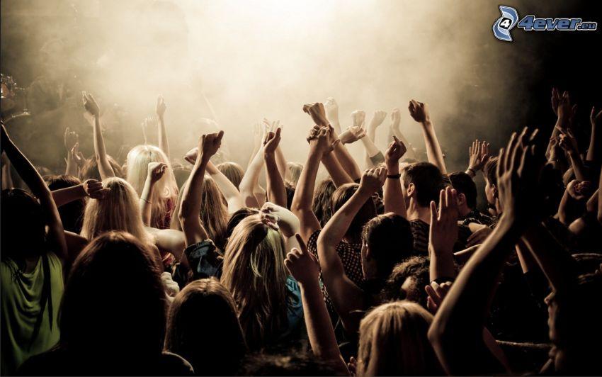 konsert, folkmassa, fans, händer