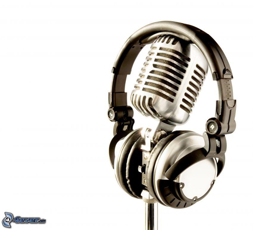 mikrofon, hörlurar
