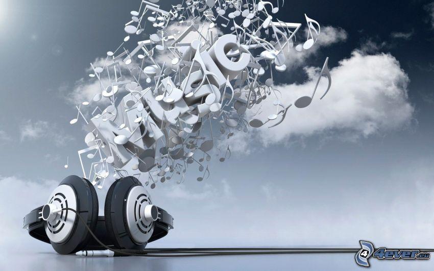 music, noter, musik, hörlurar