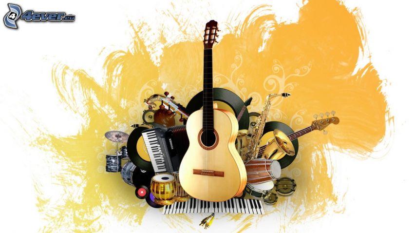 musikinstrument, gitarr, piano, trummor, tangenter, LP-skiva, fläck, tecknat