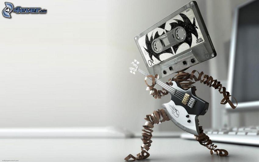 robot, kasettband, gitarr