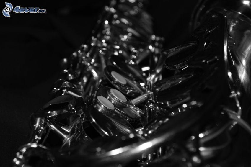 saxofon, svartvitt foto