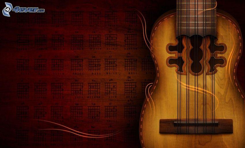 tecknad gitarr