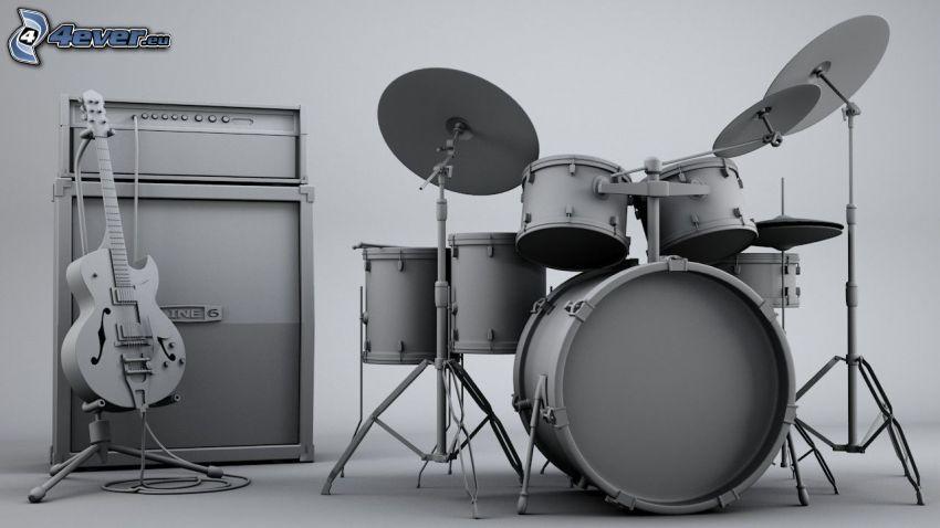 trummor, gitarr, högtalare