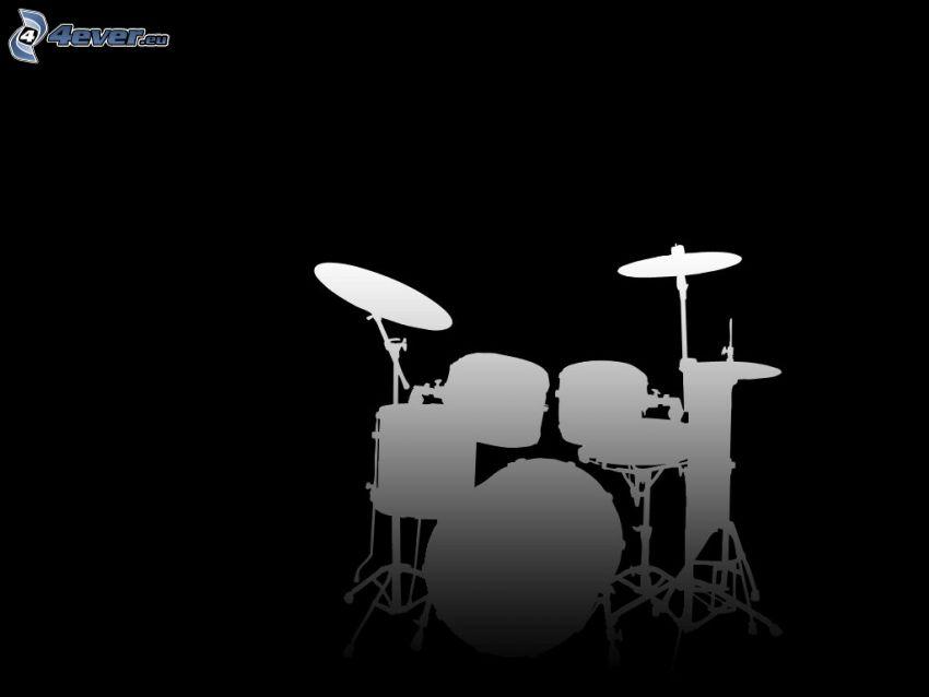 trummor, silhuett, svart och vitt