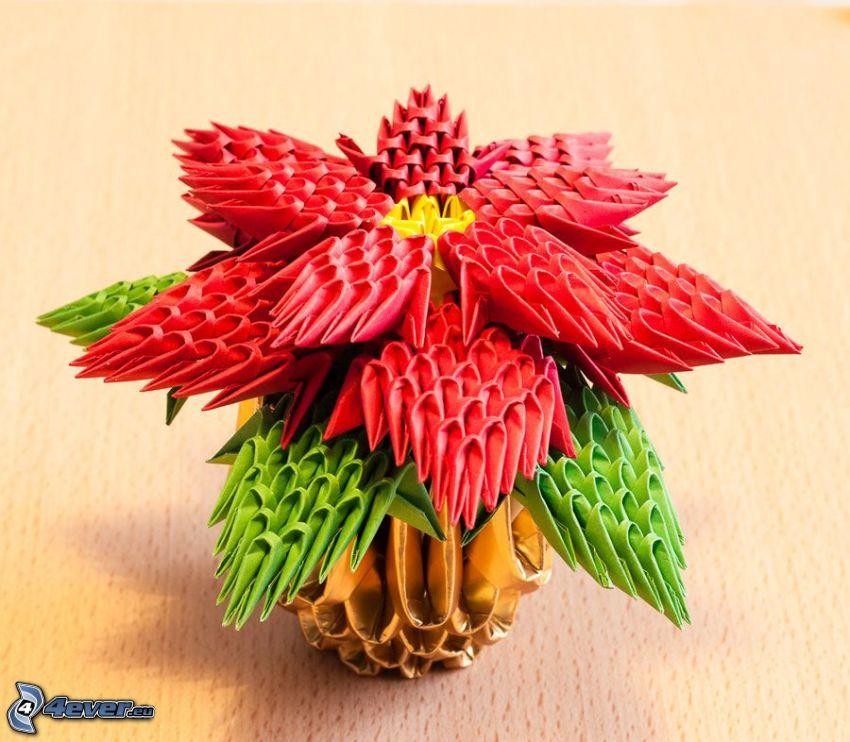 origami, blomma i vas