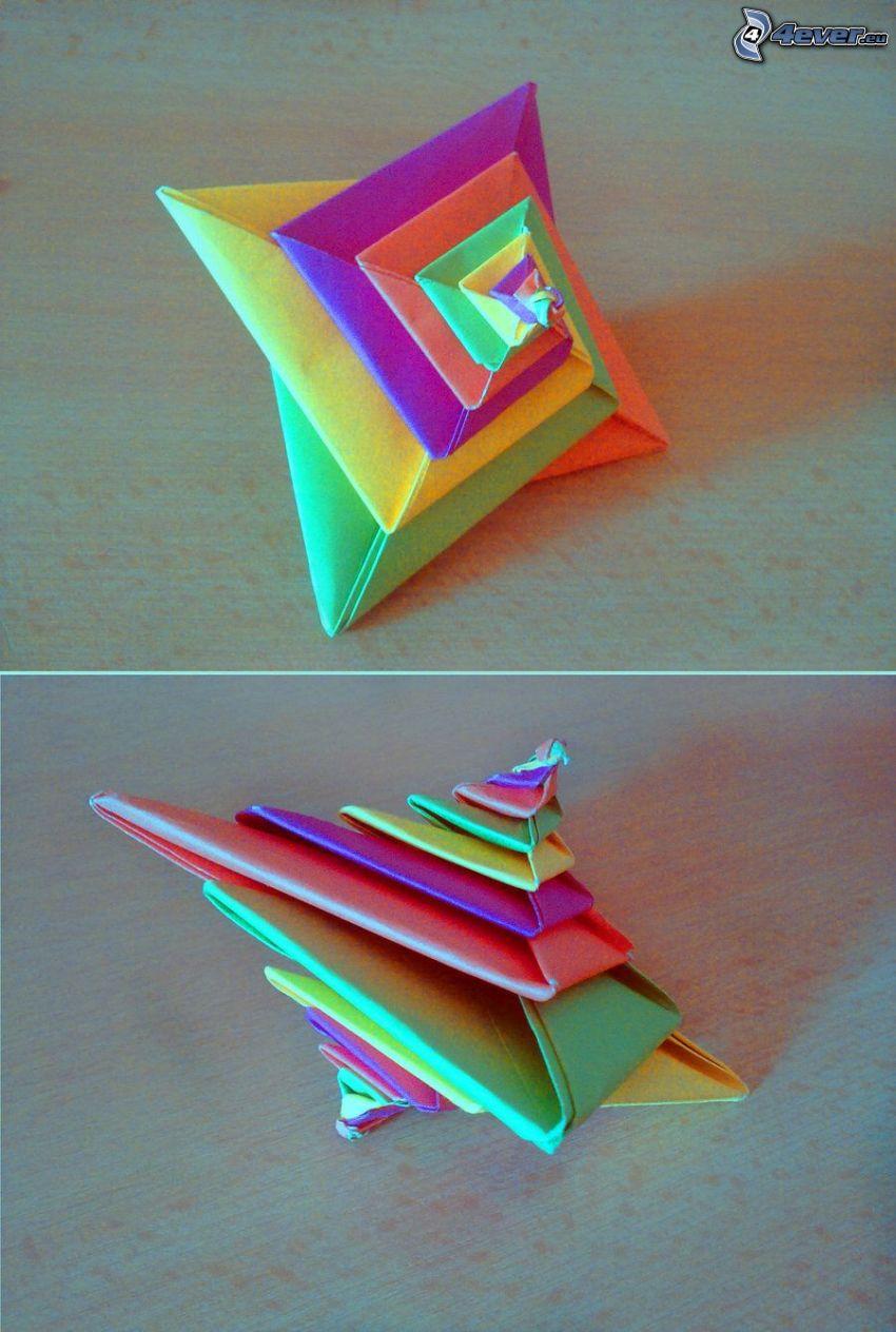 origami, färggranna papper