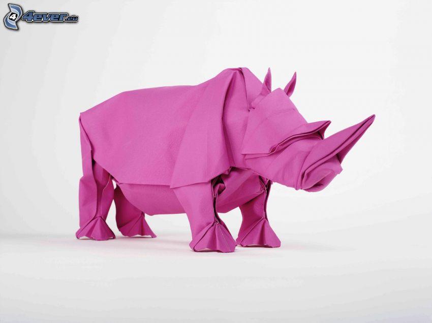 origami, noshörning, lila