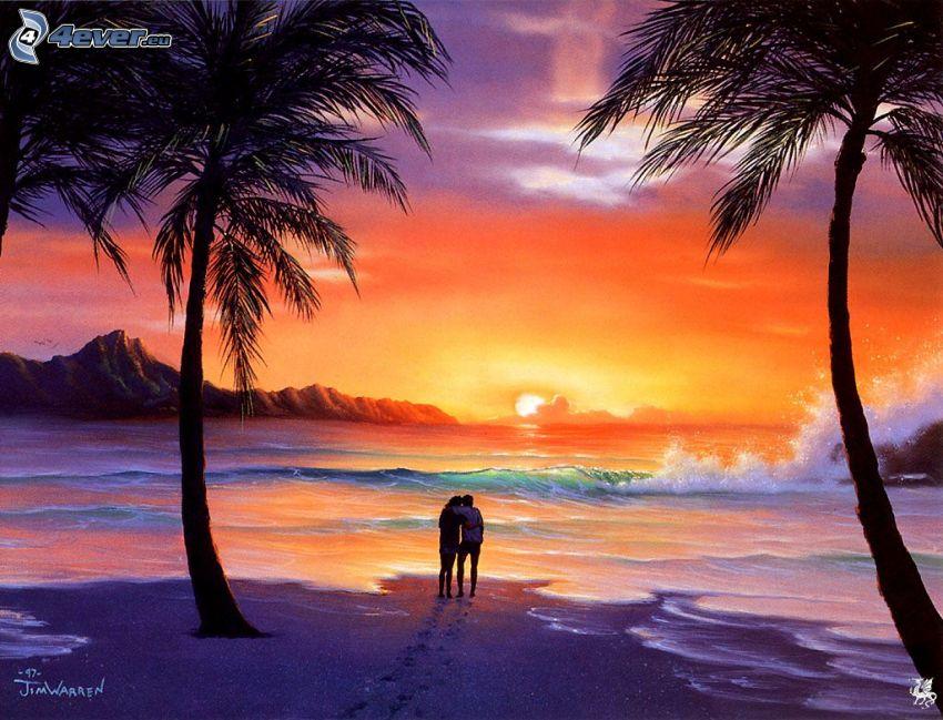 par vid hav, orange solnedgång över havet, palmer, romantik, tecknat
