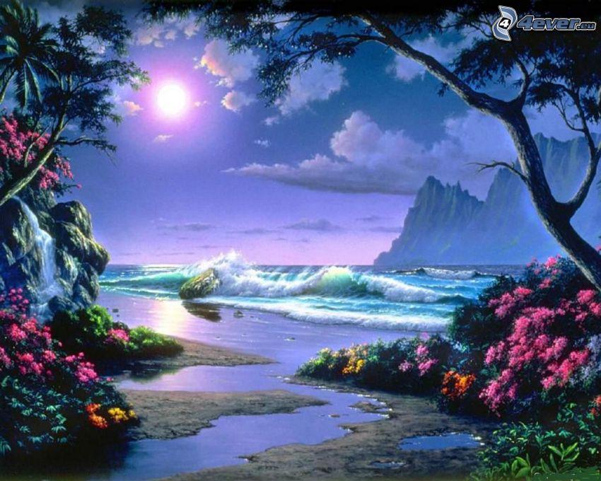 paradis, strand, hav, vågor vid kusten, måne