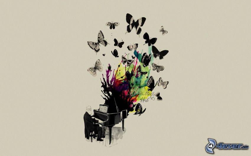 piano, pianist, fjärilar