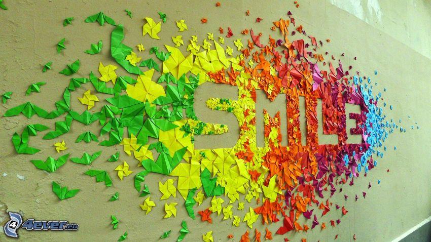 smile, leende, origami, färggranna papper