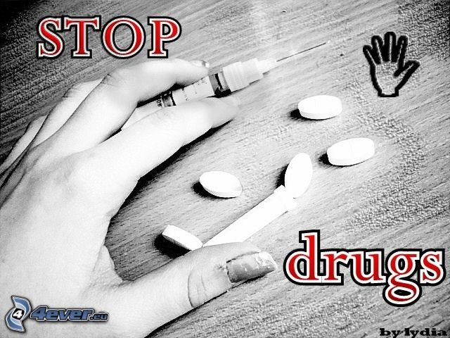 stop drugs, hand, spruta, tablett