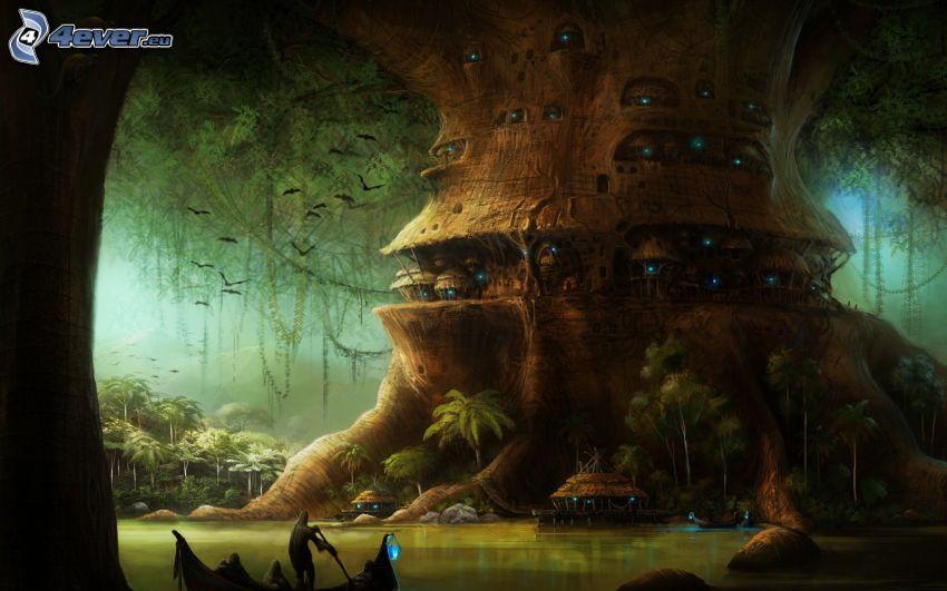 stort träd, tecknat träd, bostad, djungel