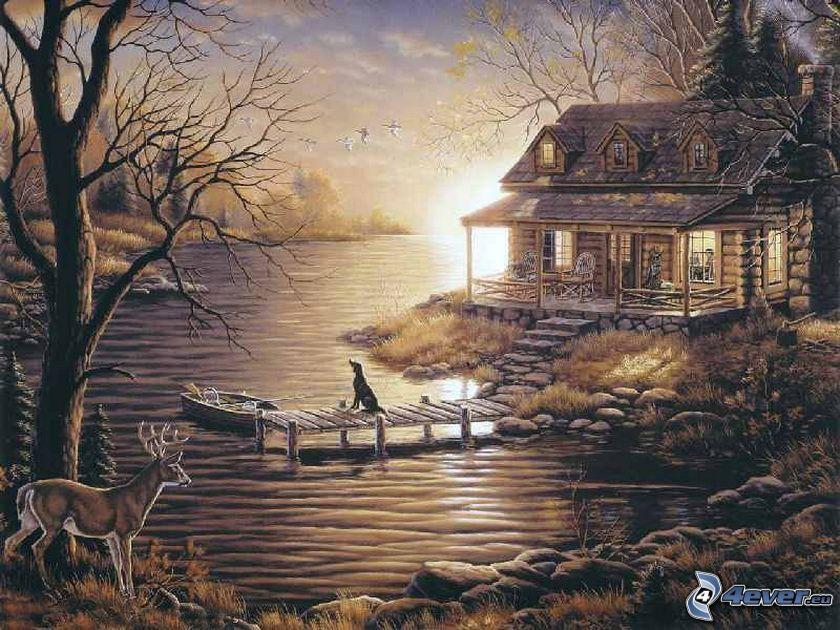 stuga, flod, rådjur, brygga, båt, hund, Thomas Kinkade