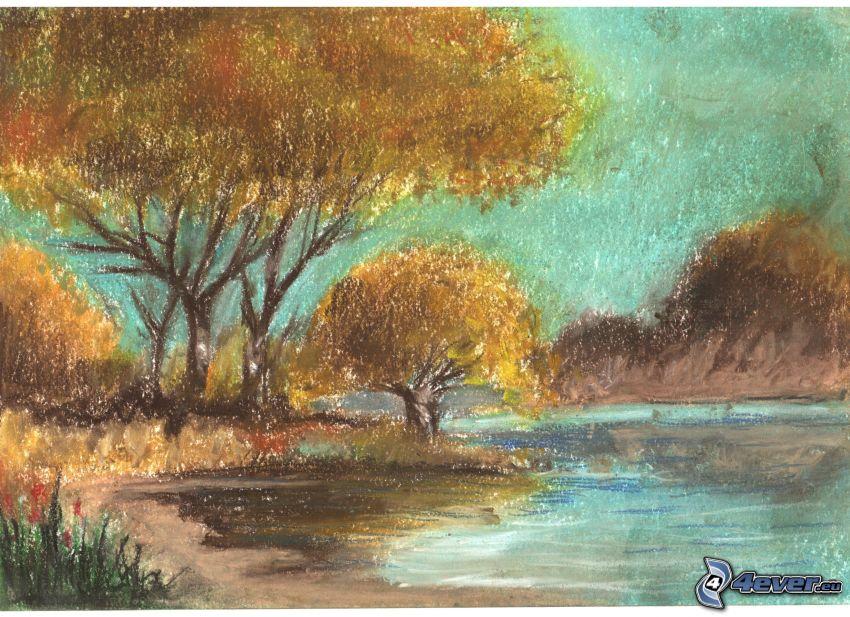 tecknade träd, flod